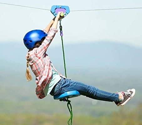 HearthSong 150' Blue Backyard Zipline Kit Kids Holds 250 ...
